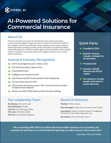 Chisel AI Corporate Fact Sheet 2021